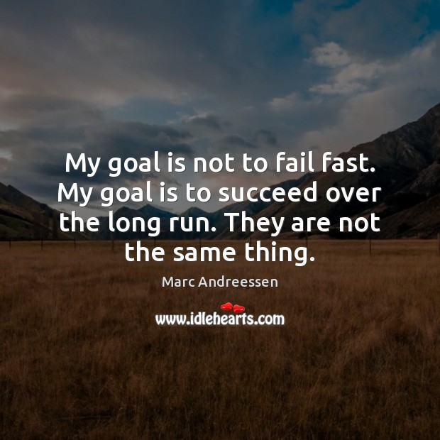 My goal is not to fail fast. My goal is to succeed Marc Andreessen Picture Quote