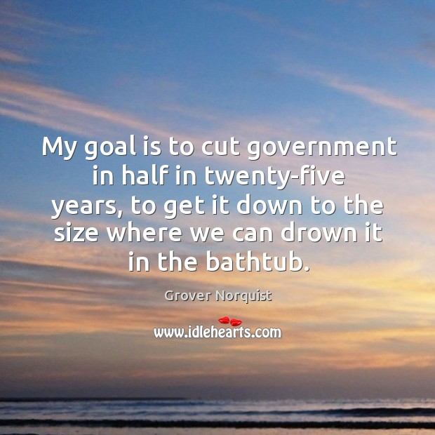 My goal is to cut government in half in twenty-five years, to get it down to the size where we can drown it in the bathtub. Grover Norquist Picture Quote