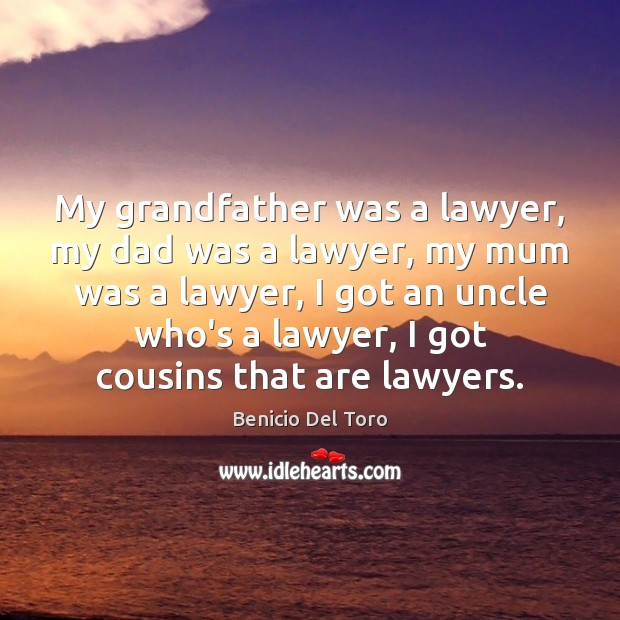 My grandfather was a lawyer, my dad was a lawyer, my mum Benicio Del Toro Picture Quote