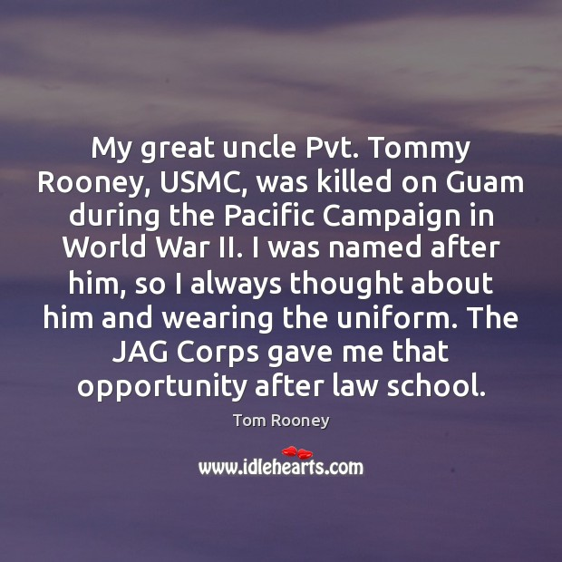 Image, My great uncle Pvt. Tommy Rooney, USMC, was killed on Guam during