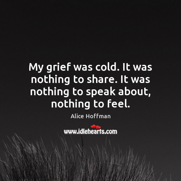 My grief was cold. It was nothing to share. It was nothing Alice Hoffman Picture Quote