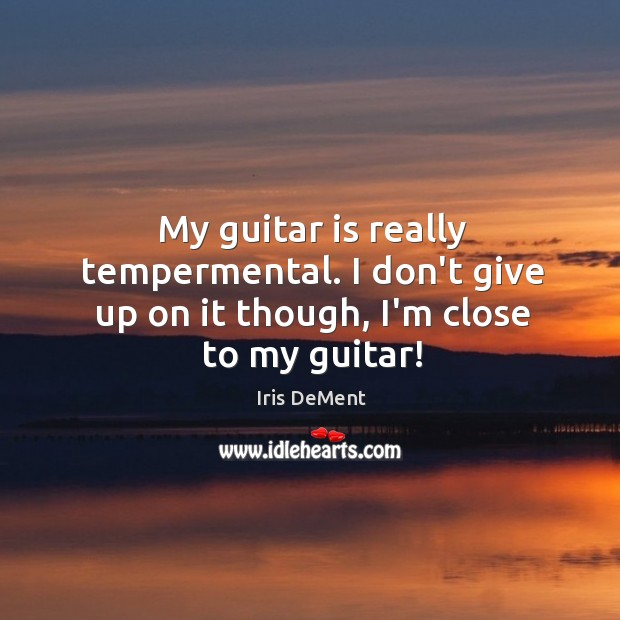 My guitar is really tempermental. I don't give up on it though, I'm close to my guitar! Iris DeMent Picture Quote