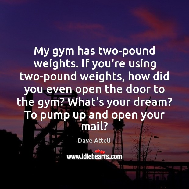 My gym has two-pound weights. If you're using two-pound weights, how did Dave Attell Picture Quote