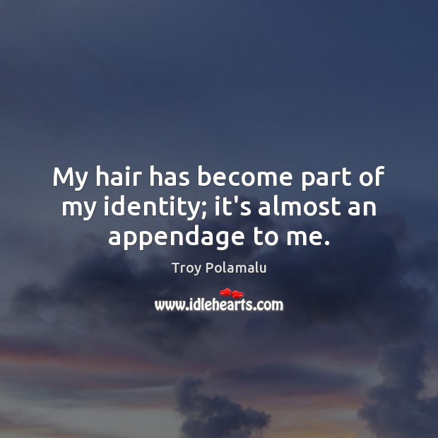 My hair has become part of my identity; it's almost an appendage to me. Troy Polamalu Picture Quote