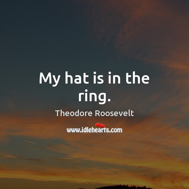 Image, My hat is in the ring.