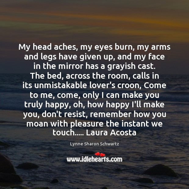 My head aches, my eyes burn, my arms and legs have given Lynne Sharon Schwartz Picture Quote