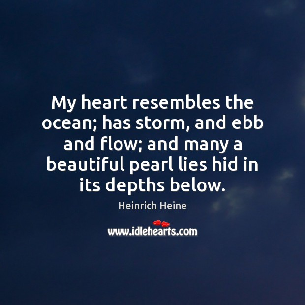 My heart resembles the ocean; has storm, and ebb and flow; and Image