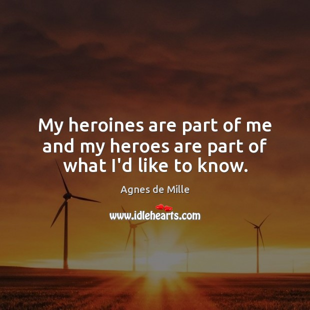 My heroines are part of me and my heroes are part of what I'd like to know. Image