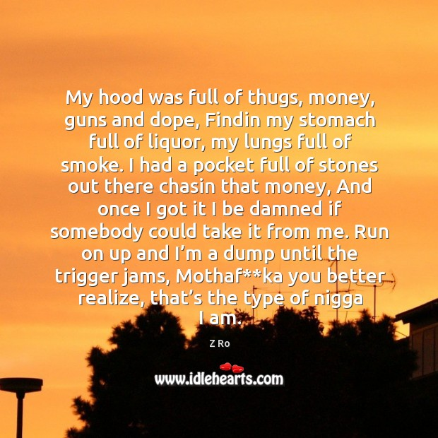Image, My hood was full of thugs, money, guns and dope, findin my stomach full of liquor, my lungs full of smoke.