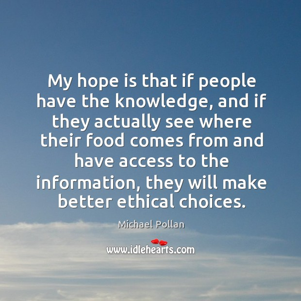 My hope is that if people have the knowledge, and if they Image