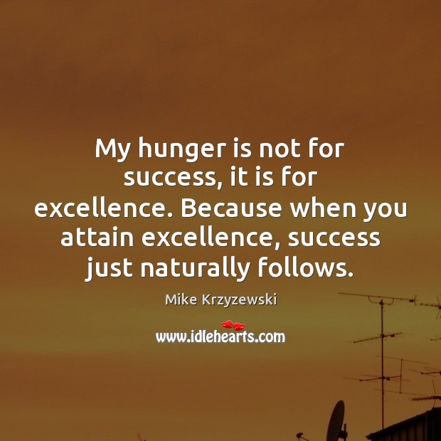 My hunger is not for success, it is for excellence. Because when Hunger Quotes Image