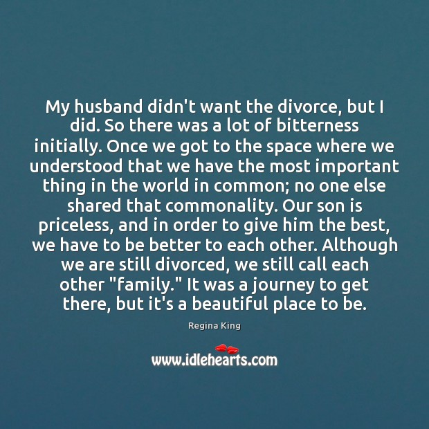 My husband didn't want the divorce, but I did. So there was Image