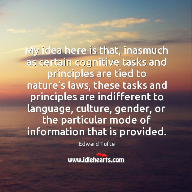 My idea here is that, inasmuch as certain cognitive tasks and principles are tied to nature's laws Image