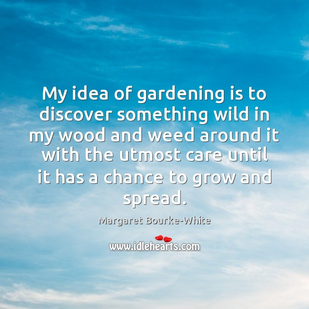 My idea of gardening is to discover something wild in my wood Margaret Bourke-White Picture Quote