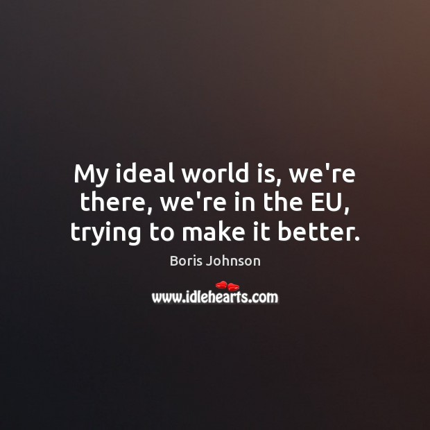 Image, My ideal world is, we're there, we're in the EU, trying to make it better.