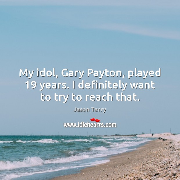 My idol, Gary Payton, played 19 years. I definitely want to try to reach that. Image
