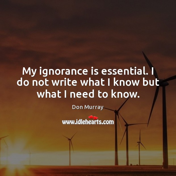 Image, My ignorance is essential. I do not write what I know but what I need to know.