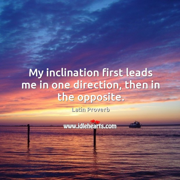 Image, My inclination first leads me in one direction, then in the opposite.