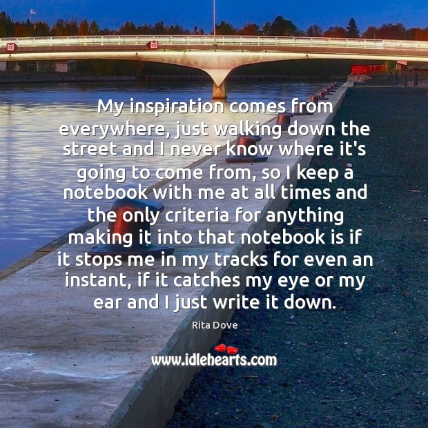 My inspiration comes from everywhere, just walking down the street and I Rita Dove Picture Quote