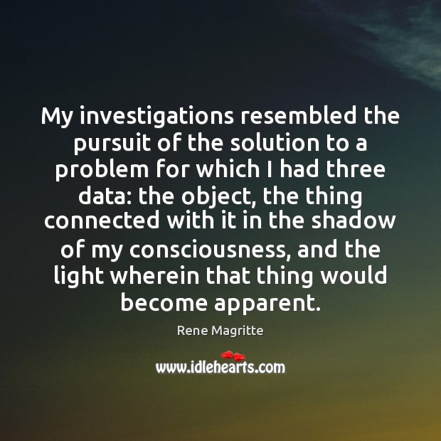 My investigations resembled the pursuit of the solution to a problem for Image