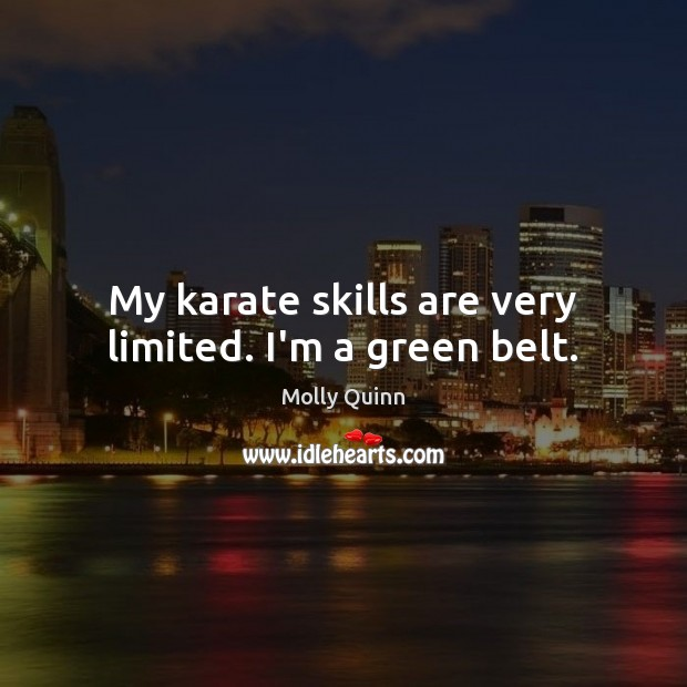 My karate skills are very limited. I'm a green belt. Image