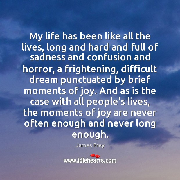 My life has been like all the lives, long and hard and James Frey Picture Quote