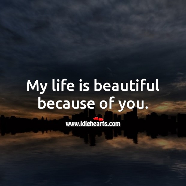 My life is beautiful because of you. Life is Beautiful Quotes Image