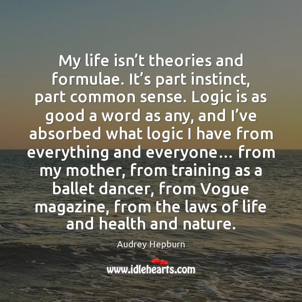My life isn't theories and formulae. It's part instinct, part Image