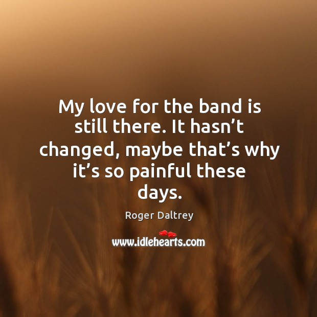 My love for the band is still there. It hasn't changed, maybe that's why it's so painful these days. Roger Daltrey Picture Quote