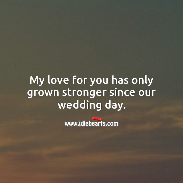 My love for you has only grown stronger since our wedding day. Wedding Anniversary Messages for Husband Image