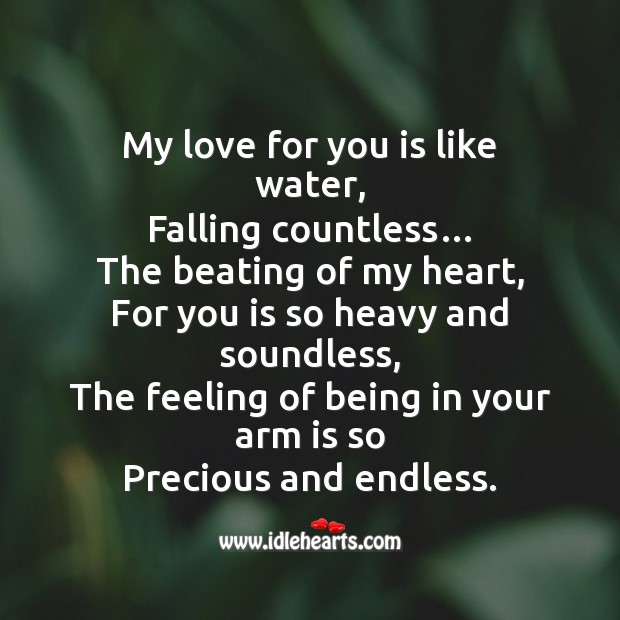 Image about My love for you is like water, falling countless…