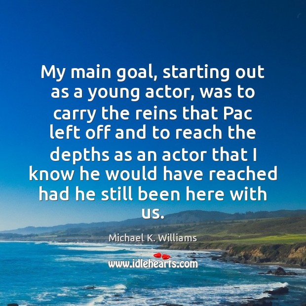 My main goal, starting out as a young actor, was to carry Image