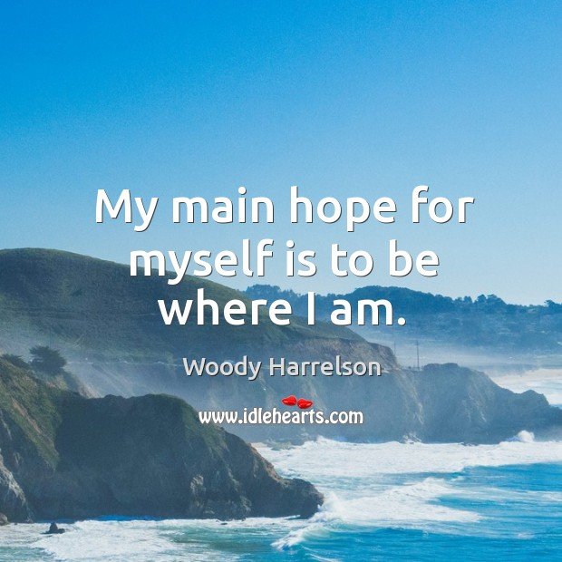 Image, My main hope for myself is to be where I am.