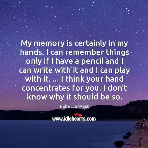 My memory is certainly in my hands. I can remember things only Image