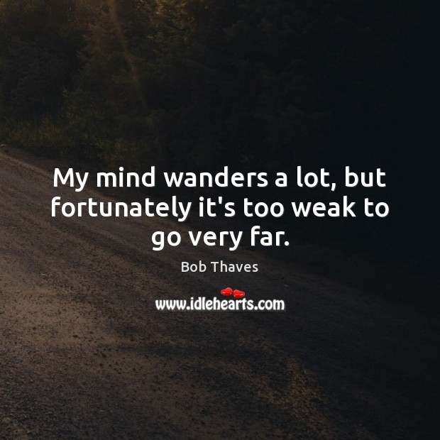 Image, My mind wanders a lot, but fortunately it's too weak to go very far.