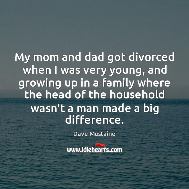 My mom and dad got divorced when I was very young, and Image