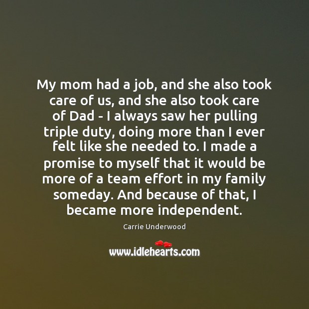 My mom had a job, and she also took care of us, Image