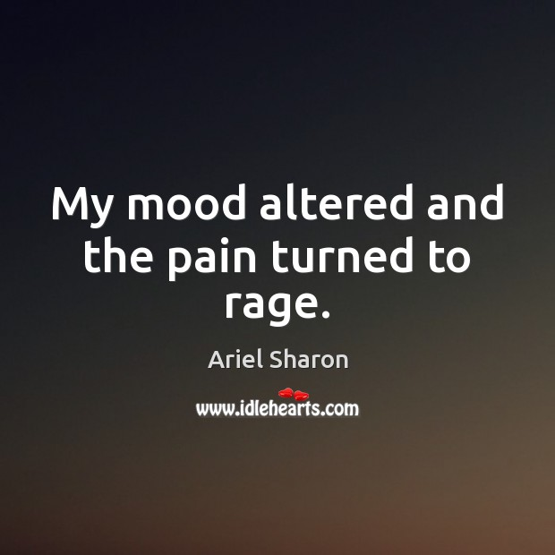 My mood altered and the pain turned to rage. Image