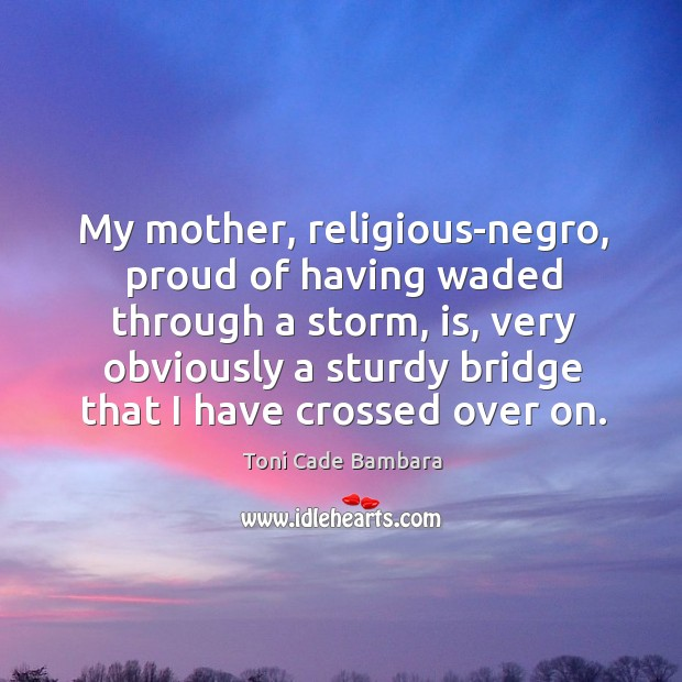 My mother, religious-negro, proud of having waded through a storm, is, very Toni Cade Bambara Picture Quote