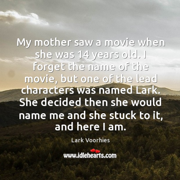 My mother saw a movie when she was 14 years old. I forget Image