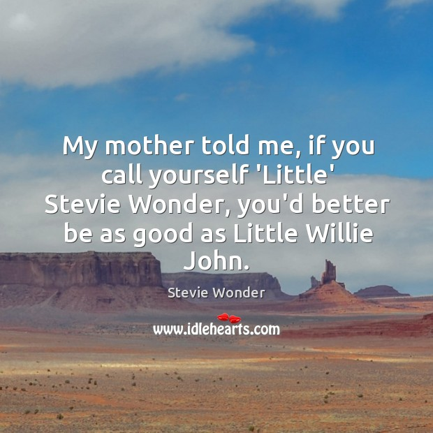 My mother told me, if you call yourself 'Little' Stevie Wonder, you'd Image