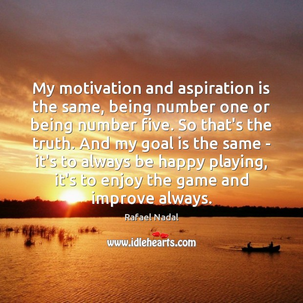 My motivation and aspiration is the same, being number one or being Rafael Nadal Picture Quote