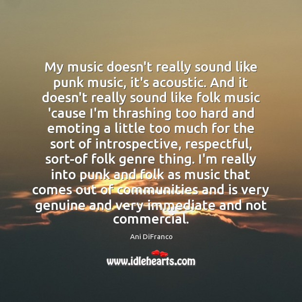 My music doesn't really sound like punk music, it's acoustic. And it Ani DiFranco Picture Quote