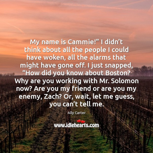 "My name is Cammie!"" I didn't think about all the people Image"
