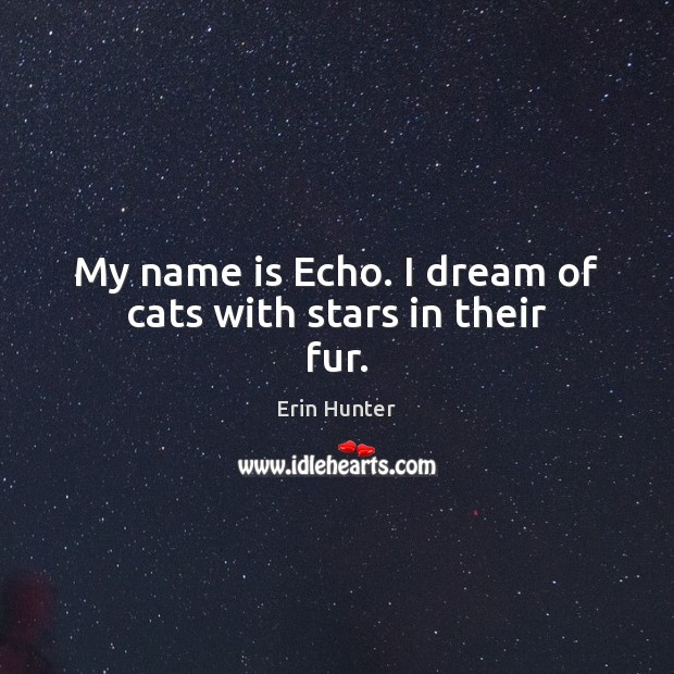 My name is Echo. I dream of cats with stars in their fur. Erin Hunter Picture Quote
