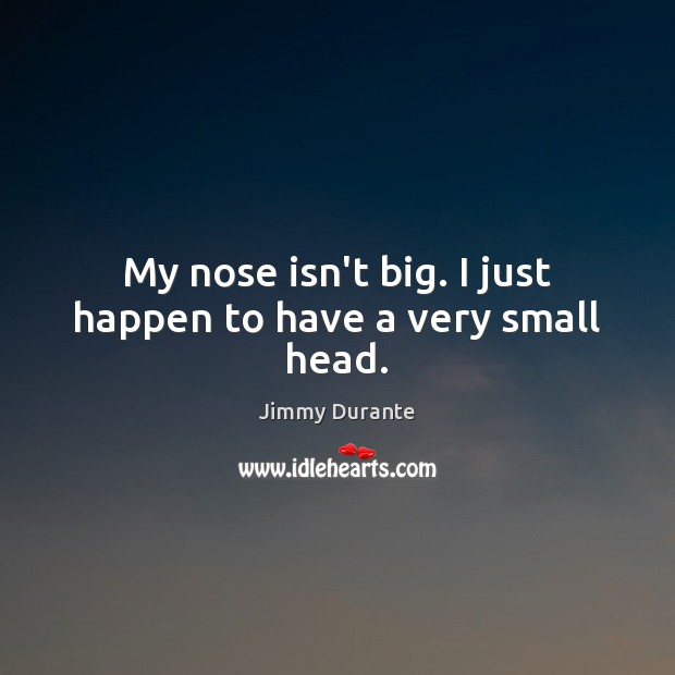 My nose isn't big. I just happen to have a very small head. Image