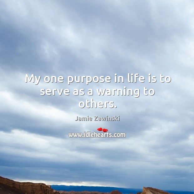 My one purpose in life is to serve as a warning to others. Image