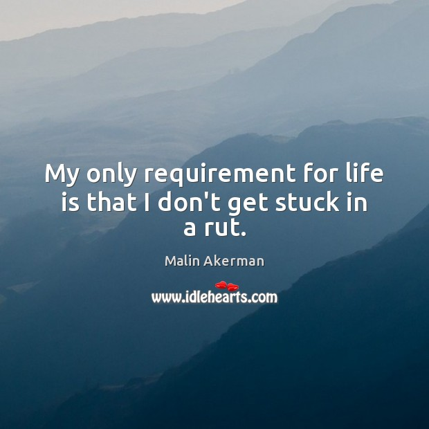 My only requirement for life is that I don't get stuck in a rut. Image