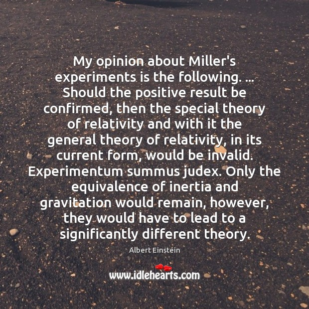 Image, My opinion about Miller's experiments is the following. … Should the positive result