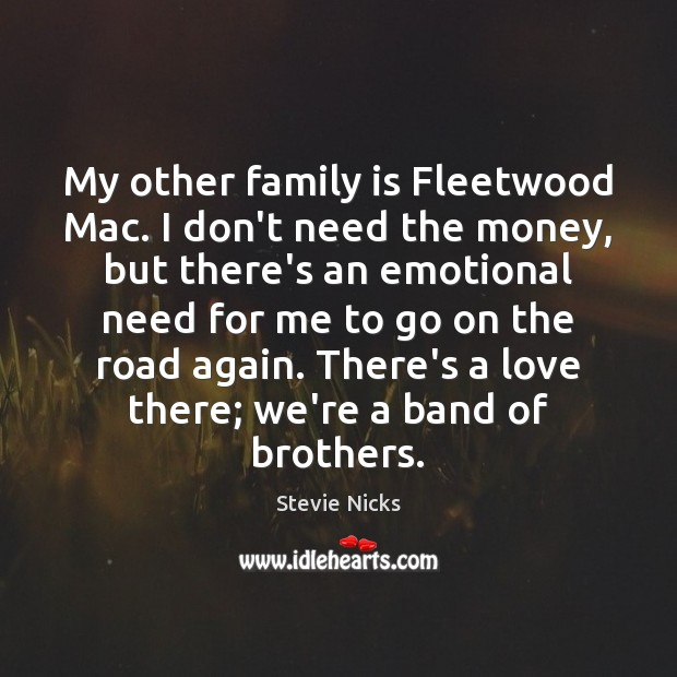 My other family is Fleetwood Mac. I don't need the money, but Stevie Nicks Picture Quote